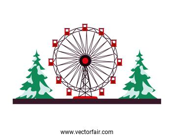 panoramic wheel attraction with pines trees