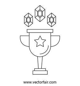 trophy cup award with gems linear style