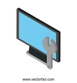 computer desktop display with wrench
