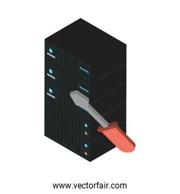 data server tower with screwdriver