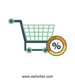 shopping cart with percent symbol