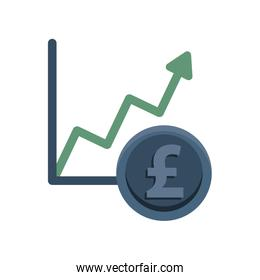 financial statistics graphic with euro coin
