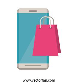 smartphone electronic with shopping bag
