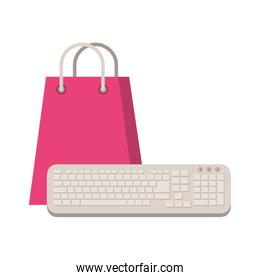 shopping bag paper with keyboard