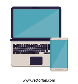 smartphone with laptop electronic devices