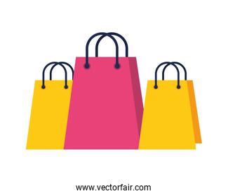 shopping bags papers isolated icons