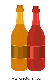 champagne bottles drinks isolated icons