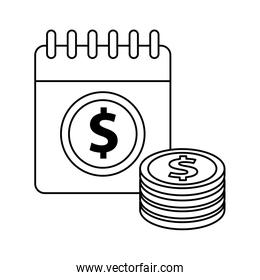 calendar with dollar symbol and coins money