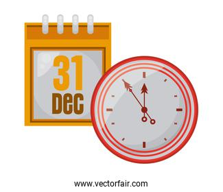 happy new year calendar with time clock