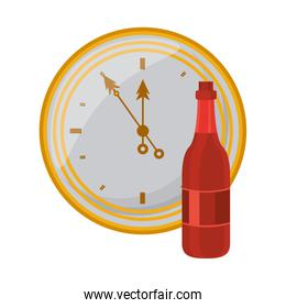 champagne bottle drink with time clock