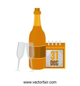 champagne bottle and cup with new year calendar