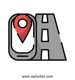 smartphone with pin location gps with road