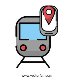 smartphone with pin location gps and train