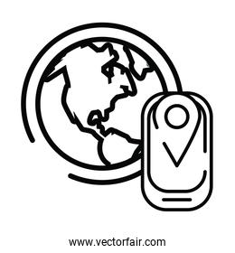 smartphone with pin location gps and planet earth line style icon