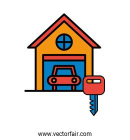garage front facade isolated icon