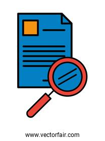 paper document file with magnifying glass