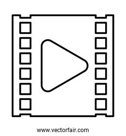 media player play button in film tape