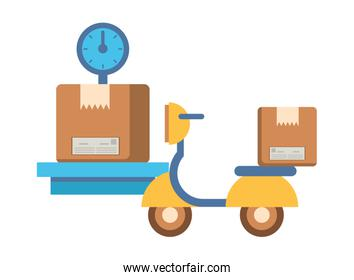 motorcycle vehicle with box packing postal service