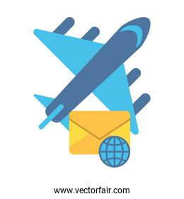 airplane flying travel with envelope mail