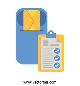 checklist clipboard document with mail service