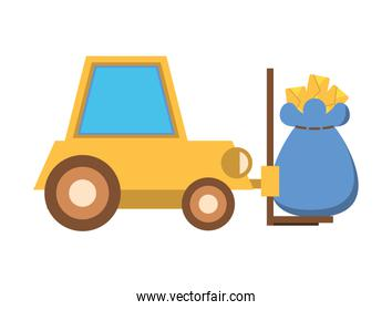 forklift vehicle service with mailbag