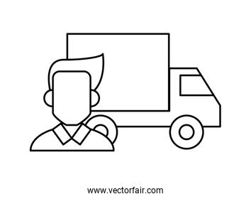 delivery service truck with man line style icon