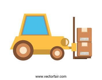 forklift vehicle service with boxes