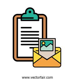 envelope mail with checklist postal service