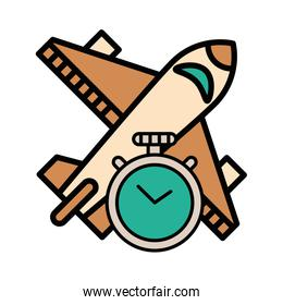 airplane flying travel with chronometer