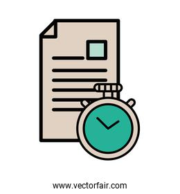 document file with chronometer icon