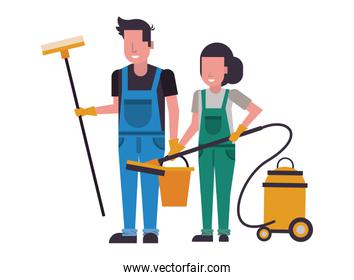 housekepping workers couple with equipment characters