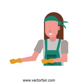 housekepping woman worker with gloves character