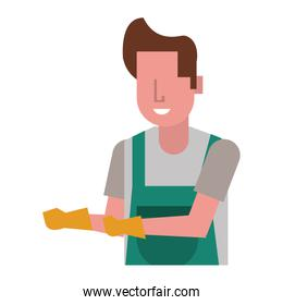 housekepping male worker with rubber gloves