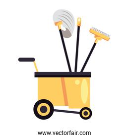 housekepping cart with tools cleaning