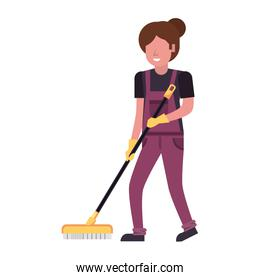 housekepping woman worker with brush cleaner character