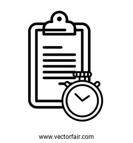 checklist clipboard document with chronometer