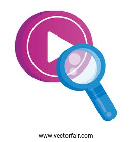 media player play button with magnifying glass
