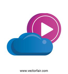 cloud computing server with play button