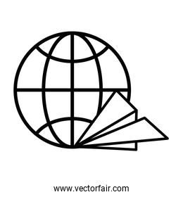 sphere planet browser with paper airplane