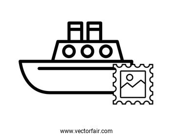 postal service stamp with ship boat