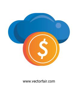 cloud computing server with coin dollar money