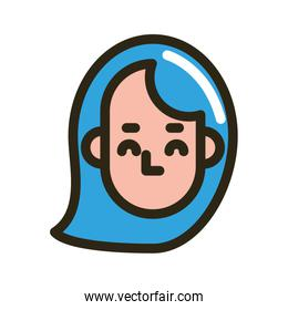 head woman face character icon