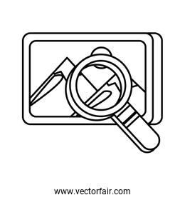 search magnifying glass with picture file