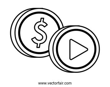 media player play button with coin money