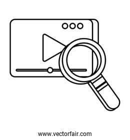 media player template with play button and magnifying glass