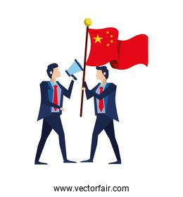 isolated businessmen with flag China and megaphone