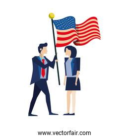 business couple with united states american flag