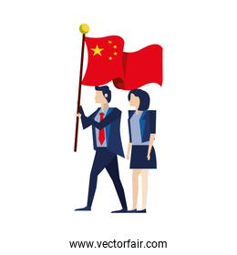 business couple with flag China characters