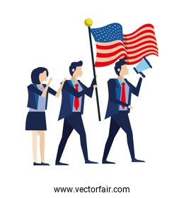 business people with united states american flag and megaphone