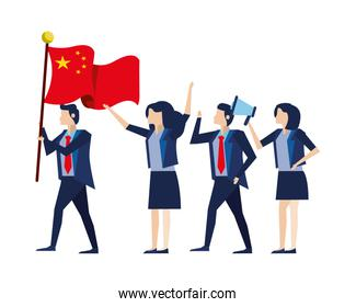business people with flag China and megaphone